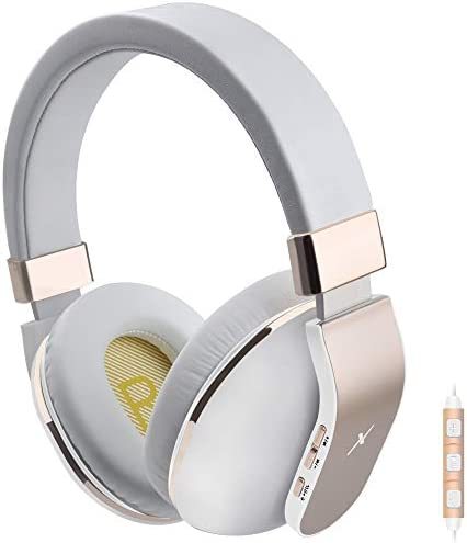 Bluetooth Headphones Over Ear, Riwbox XBT-780 V 5.0 Bluetooth Wireless Headphones with Microphone and Volume Control for PC Cell Phones TV Gold