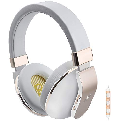 Bluetooth Headphones Over Ear, Riwbox XBT-780 V4.2 Bluetooth Wireless Headphones with Microphone and Volume Control for PC/Cell Phones/TV (Gold)