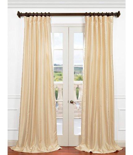 Dupioni Silk Lined Drapes (Half Price Drapes PDCH-HANB81-84 Yarn Dyed Faux Dupioni Silk Curtain, Winter Ivory)