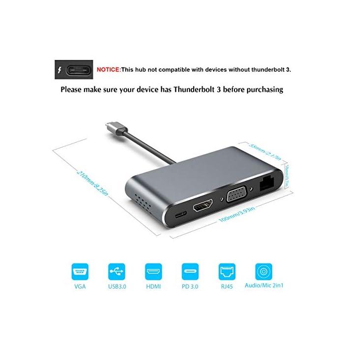 41D8fN0jF4L Haz clic aquí para comprobar si este producto es compatible con tu modelo 【Multipuerto USB C Hub】Este concentrador USB C plug-and-play incluye 3 puertos USB-A 3.0, HDMI 4K @ 30Hz, salida de video VGA 1080P @ 60Hz, puerto Ethernet 1000M, conector de audio de 3.5mm y puerto PD tipo C de hasta 100W.( Nota: Este concentrador no es compatible con dispositivos sin Thunderbolt 3. La Surface no era adecuada.) 【Salida Ultra HD 4K y 1080P】 Con este centro de acoplamiento, su teléfono inteligente, PC puede conectarse a una pantalla grande o proyector a través de HDMI o VGA para una experiencia cinematográfica. ¡Disfruta de la experiencia visual del juego / película / fútbol 4K y 1080P en lugar de la pantalla pequeña! Nota: Cuando los puertos de salida HDMI y VGA funcionan simultáneamente, la resolución máxima de ambos puertos es 1080P. (El modo extendido solo funciona para la computadora portátil).