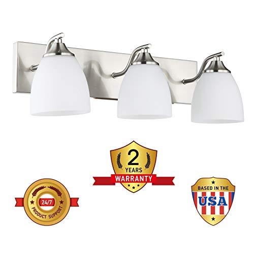 OSTWIN 3-Light Bath Bar Light Up or Down, Interior Bathroom Vanity Wall Lighting Fixture VF42, 3x60 Watt E26 Socket, Satin Nickel Finish with Opal Oval Cone Glass Shade, UL Listed by OSTWIN (Image #7)