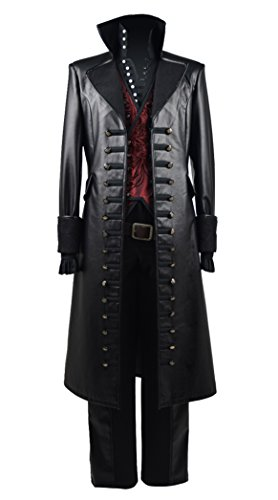 Hot Fairy Tale TV Series Pirate Captain Costume Men's Halloween Pirate Costume Red Vest (US Men-L, Black & Red)