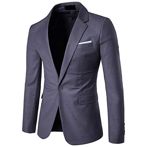 - Cloudstyle Men's Suit Jacket One Button Slim Fit Sport Coat Business Daily Blazer,Dark Grey,Large