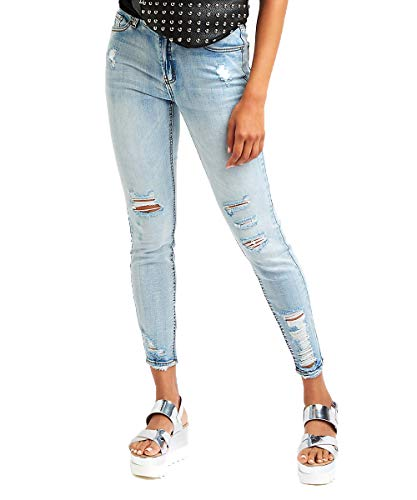 Women's Ripped Boyfriend Jeans Stylish Pants Slim Fit Casual Ripped Holes Stretch Trendy Jeans (Lightwash, ()