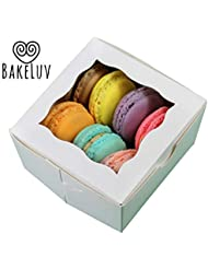 BakeLuv White Bakery Boxes with Window 4x4x2.5 inches | 50 Pack | Thick & Sturdy | Bakery Boxes, Mini Cake Boxes, Cookie Boxes, Dessert, Pastry, Small Treat Boxes | Macarons NOT Included