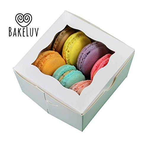 Mini Cake Boxes (BakeLuv White Bakery Boxes with Window 4x4x2.5 inches | 50 Pack | Thick & Sturdy | Bakery Boxes, Mini Cake Boxes, Cookie Boxes with Window, Dessert, Pastry, Treat Boxes with)