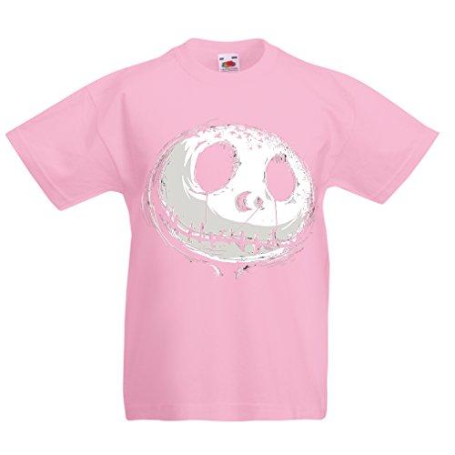 (lepni.me N4434K Kids T-Shirt Scary Moon (7-8 Years Pink)