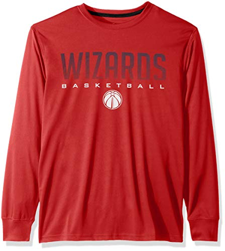 NBA Washington Wizards Men's T-Shirt Athletic Quick Dry Long Sleeve Tee Shirt, Large, Red