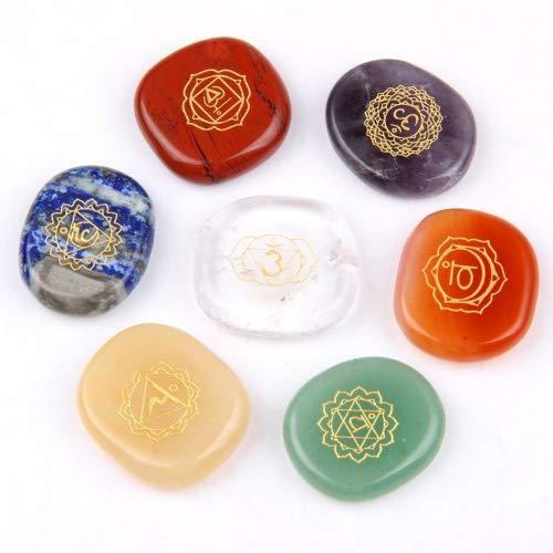 (Chakra Stones-Reiki Healing Crystal With Engraved Chakra Symbols Holistic Balancing Polished Palm Stones Set of 7)