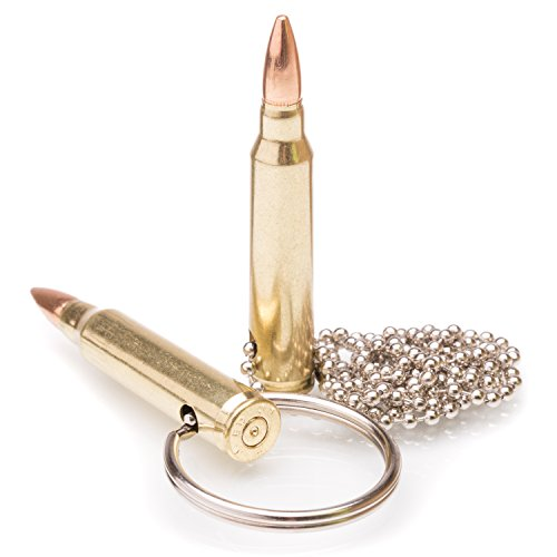 (Genuine Once-Fired 223 Caliber Bullet Key chain and Necklace Combo Pack)