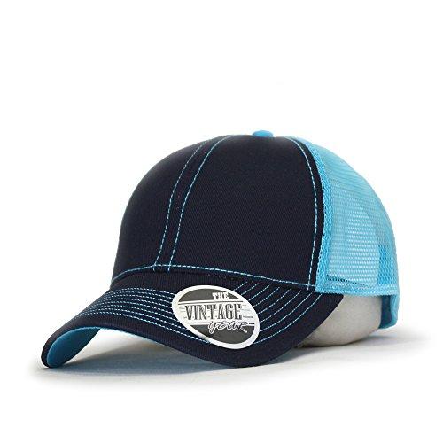 Vintage Year Plain Cotton Twill Mesh Adjustable Trucker Baseball Cap (Navy/Turquoise) (Cap Sht 0.5')