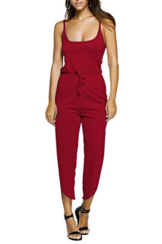 Linsery Women's Casual Spaghetti Strap High Slit Cropped Pants Jersey Jumpsuits (L, Red)