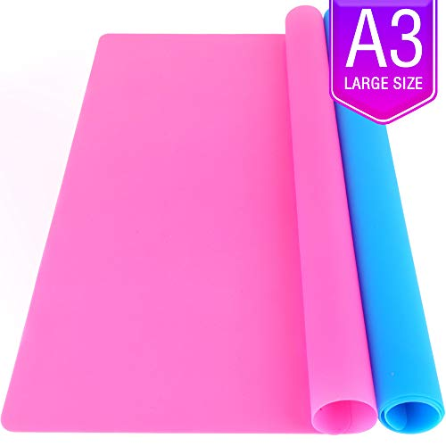 LEOBRO 2 Pack A3 Extra Large Silicone Sheet for Crafts Jewelry Casting Molds Mat, Food Grade Silicone Placemat, Multipurpose Mat, Waterproof Nonstick Heat-Resistant, Blue & Rose Red(16.5 x 11.7 inch)