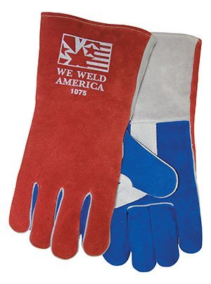 Large 1075 Stick Welders Gloves, Side Split Cowhide (8/Pack) - R3-1075L