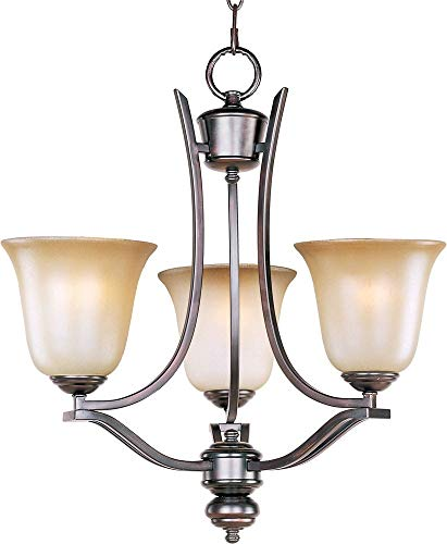(Maxim 10174WSOI Madera 3-Light Chandelier Single-Tier Chandelier, Oil Rubbed Bronze Finish, Wilshire Glass, MB Incandescent Incandescent Bulb , 60W Max., Dry Safety Rating, Standard Dimmable, Metal Shade Material, Rated Lumens)