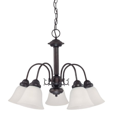 Nuvo Lighting 60 3331 Ballerina 5 Light Chandelier With Frosted Glass Shade  Mahogany Bronze