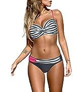 Aleumdr Women's Striped Printed Push Up Halter Bikini Swimsuits Padded Swimwear Two Piece Bathing...