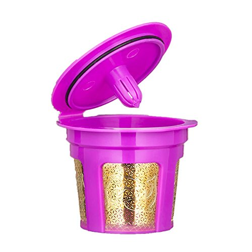 Reusable Coffee Filters YKSH Refillable Gold Plated Mesh Filters 2 Pcs for Keurig 2.0 and 1.0 Brewers(Purple)