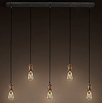 Industrial adjustable 5 lights edison bulb pendant light litfad 33 industrial adjustable 5 lights edison bulb pendant light litfad 33quot wide vintage brass pendant aloadofball Choice Image