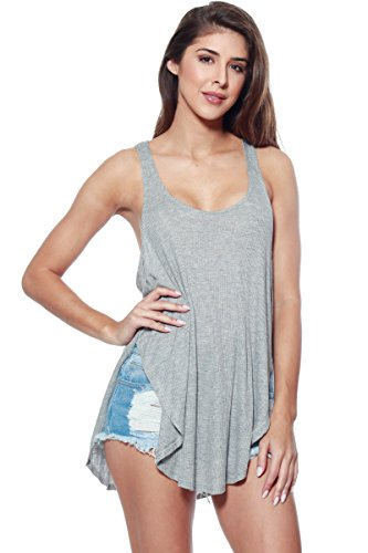 A+D Womens Ribbed Knit Racer Back Tank with High Side Slit (Heather Grey, Small)