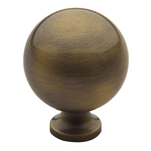 Baldwin 4961.050.BIN Spherical Design 1-1/4-Inch Diameter Cabinet Knob, Satin Brass and Black