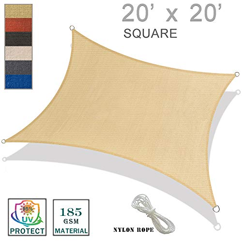 SUNNY GUARD 20' x 20' Sand Square Sun Shade Sail UV Block for Outdoor Patio Garden