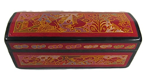 El Relicario de Los Tesoros Hand Crafted Painted INCISED STASH Jewelry Trinket Box OLINALA Mexico LACQUERWARE INCISED Rectangular Chest (Black - Red Aviary)
