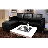 SKB Family 3-Seater L-shaped Artificial Leather Sectional Sofa Black Couch Style Set Upholstered