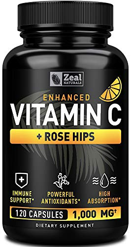Vitamin C 1000mg with Rosehips (120 Capsules   1000mg) Pure Vitamin C Capsules – Ascorbic Acid + Rose Hips for Powerful…
