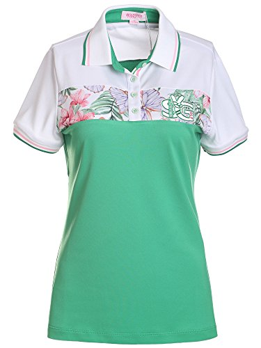 SunviewGolf Women's Floral Print Polo Golf Shirt Summer Short Sleeve Casual Shirt Top S by SunviewGolf