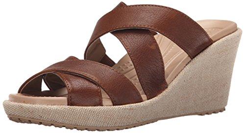 (crocs Women's A-Leigh Crisscross W Wedge Sandal, Hazelnut/Chai, 8 M)