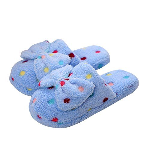 Donne Uomini Coppie Casa Pantofole Inverno Caldo Peluche Slip-on Scarpa Indoor Blu