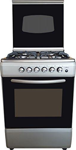 Larel - Cocina plateada de acero inoxidable de 60 x 60 con encimera eléctrica de 4 quemadores, horno de gas metano o GLP y tapa de cristal