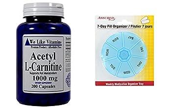 Acetil L-carnitina 1000mg 200 cápsulas - suministro de 100 días - mejor carnitina valor