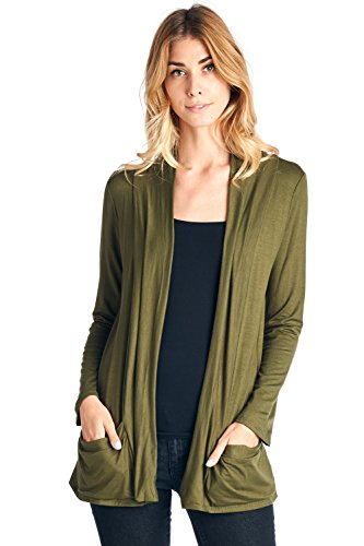 12 Ami Basic Long Sleeve Open Front Pocket Cardigan Olive M