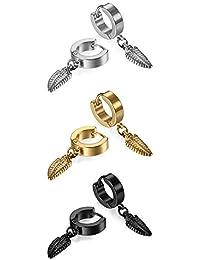 3-6 Pairs Stainless Steel Piercing Hoop Huggie Feather ,Cross Dangle Earring for Mens Womens Teens,Hypoallergenic