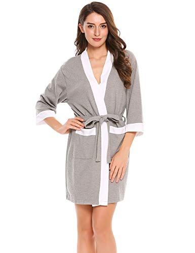 Hotouch Waffle Kimono Robe/Bath Robes for Women V-Neck Ladies Nightwear Gray XL (Jersey Kimono)