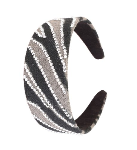 Great Gatsby Flapper Inspired Handmade Fashion Headband / Hairband with a Striped Design Encrusted with Rhinestones