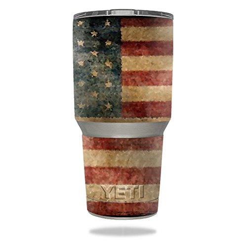 - MightySkins Protective Vinyl Skin Decal for YETI 30 oz Rambler Tumbler wrap Cover Sticker Skins Vintage Flag
