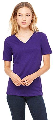 (Bella Canvas Women's Relaxed Jersey V-Neck T-Shirt, Team Purple, XX-Large)
