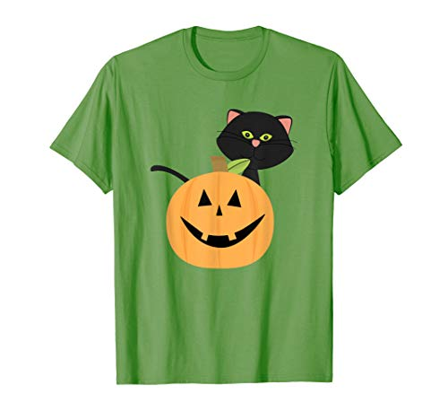 Halloween Jack-O'-Lantern T-Shirt with Boo the Kitten ()