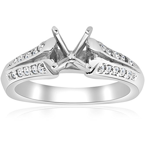 Pave Diamond Semi Mount Split Shank Engagement Ring 14K - Size 9.5