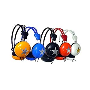 Over Ear Headphones-Round Cup & Star Design, Back To School, Headphones (Colors May Vary)