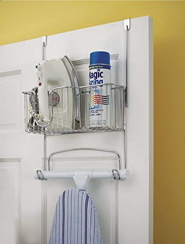 mDesign Ironing Board Holder with Storage Basket for Clothing Iron - Wall Mount/Over Door, Chrome