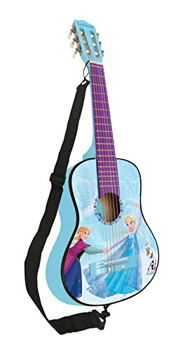 Disney Lexibook Frozen Elsa Acoustic Guitar, Mediator and Guitar Strap provided, 6 Nylon Cords, Learning Guide Included, Blue, K2000FZ