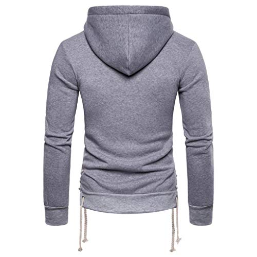 kaifongfu Hooded, Mens Long Sleeve Bandage Hoodie Pullover Outwear TopsGrayXL by kaifongfu-mens clothes (Image #2)