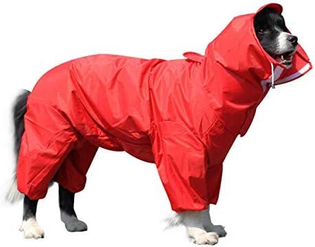 OTOKU 犬用レインコート 快適 いい素材 レインコート ペットレインコート カッパ 犬用合羽 小型犬 中型犬 大型犬 帽子付 通気 完全防水 耐久性 快適 防風 防水 防雪 防塵 多色 多サイズ (18, 赤)