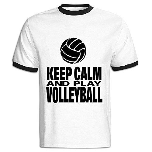 - AWSY Men's Keep Calm And Play Volleyball Baseball T Shirt Black