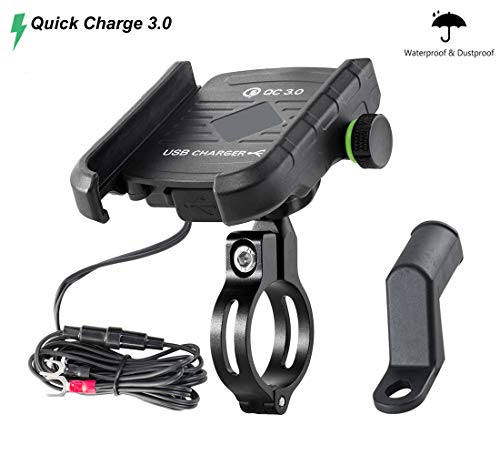 Waterproof Motorcycle Phone Mount with QC 3.0 USB Charger Socket Motorcycle Handlebar Charger Compatible with Samsung iPhone Phones (Iphone 5s Not Turning On Black Screen)