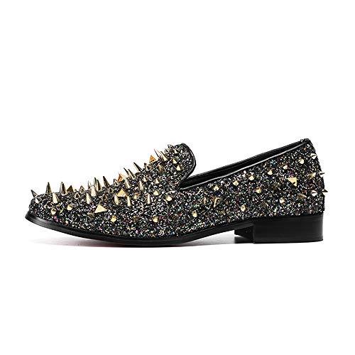 40 Punky 2 la pie de Cuero del tamaño Chlyuan del Creativo Impermeables Zapatos Hombres del Remache para los de de del Acentuados 3 Hombres Vendimia los Antideslizantes Zapatos del Estilo EU Dedo fqwWCTE